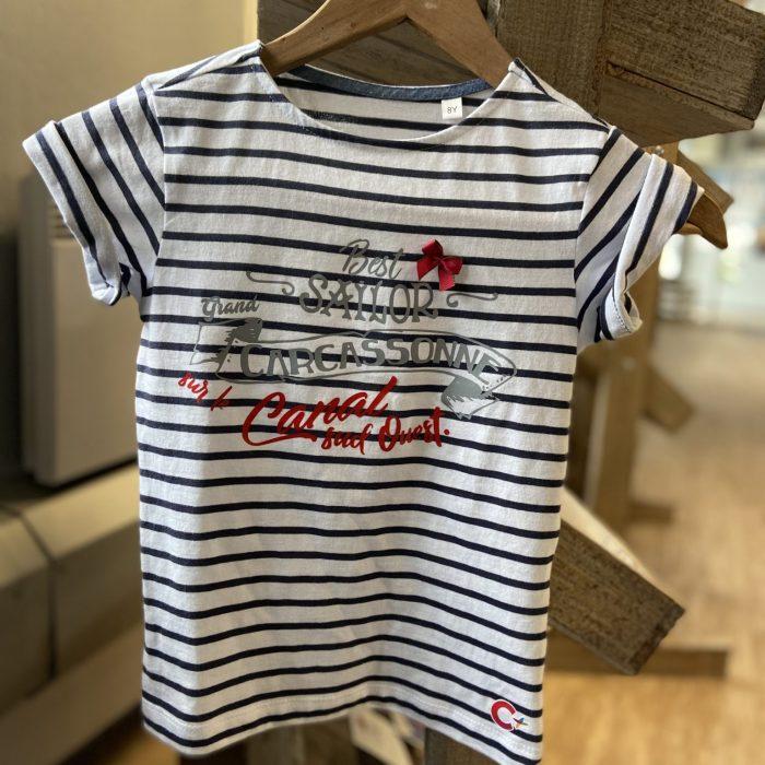 boutique office tourisme grand carcassonne tee shirt mariniere canal du midi enfant